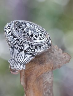 Sterling silver flower ring, 'Precious Lotus' - Hand Made Floral Sterling Silver Cocktail Ring Men's Jewelry Rings, Silver Jewelry, Vintage Jewelry, Diamond Jewelry, Silver Earrings, Jewelry Box, Sterling Silver Flowers, Sterling Silver Rings, Cocktail Rings