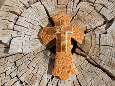 Glazed hand crafted clay cross  by Luv2PlayinClay on Etsy, $20.00