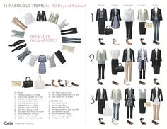 capsule wardrobe examples | 15 Fabulous CAbi Items Create 30 Days of Fashion! by Laura Brown | My ...