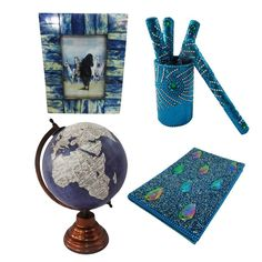 """Christmas Gift Lot Globe, Photo Frame, Pen Pot, Diary Decorative Material Mdf Lac Handmade Table Topper Home Décor Multicolor Set of 4 Pcs. Beautiful Handmade gift lot which include Globe, Diary, Pen Pot and Photo Frame. This ethnic gift lot combine traditional with a modern design, a great accessory for traditional touch. Material, Size and Color- Globe : Material-Plastic and Iron, Size-Stand -13"""" and Plastic Ball-8"""" Inches, Color-Greyish Blue and White Diary : Material-Satin and Lac..."""