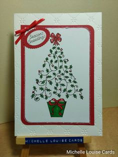 Holly Christmas Tree stamp