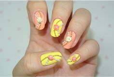 Beaded yellow and peach nail art. #nails #nailart #nailpolish #manicure
