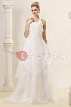 Aラインホルター床までの長さコートトレインウェディングドレス