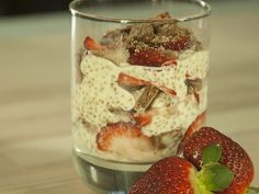 Chia Seed Pudding - Coffee Infused Yoghurt With Strawberries and Chocolate