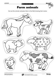 Animal worksheets, farm animals preschool, farm animal crafts, farm animals f Farm Animals Preschool, Farm Animal Crafts, Animal Crafts For Kids, Preschool Farm Crafts, Farm Animals For Kids, Preschool Kindergarten, Farm Activities, Animal Activities, Farm Animals Pictures