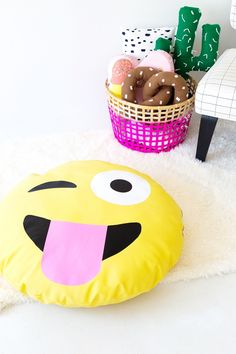 This site calls this craft a DIY Emoji Dog Bed, but Id make my son one for a floor cushion!