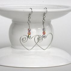 Wire Heart Earring Jeweled Heart Earrings Spiral by CraftedLocally, $12.00