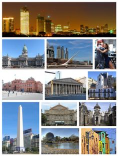From top (left to right): skyline of the city at dusk, the National Congress, the Woman's Bridge in Puerto Madero, Tango dancers in San Telm...