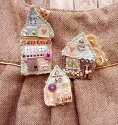Set of 3 Gorgeous Shabby Chic Textile Brooch