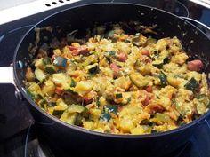El guiso de zapallitos italianos o calabacines es una receta tipica de Chile. Se acompañan con papas doradas o arroz. Rico, muy nutritivo y económico.