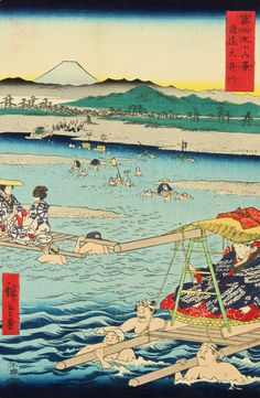 """Utagawa Hiroshige Japanese Woodblock Print, The Oi River between Suruga and Totomi Provinces, no. 26 from the series Thirty-six Views of Mt. Fuji, adhered to a backing sheet, old tape. Size: 14.5"""" x 9.5"""", 37 x 24 cm (sheet)."""
