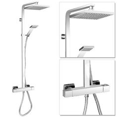 Milan Square Thermostatic Bar Shower Valve & Riser Kit - Chrome