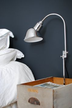 Love the idea of a box as bedside container. - Lighting Basics: 8 Practical Tips & Tutorials Apartment Therapy's Home Remedies London Apartment, London House, Dark Walls, Wall Colors, Paint Colors, Colours, Home Lighting, Home Remedies, Wall Lights