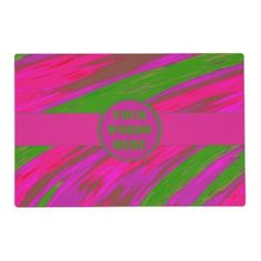 Personalized bright pink green placemats for your kitchen #zazzle #dining #decor