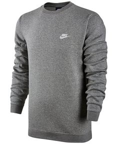 Mens Nike Fleece Sweatshirt Classic Crewneck With Nike Logo Large Gray Supreme Hoodie Sweatshirts, Crew Neck Sweatshirt, Pullover, Nike Fleece, Nike Outfits, Fleece Sweater, Men Sweater, Vintage Nike, Moda Masculina