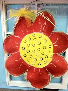 Flower Power Burlap Door Hanger by Burlapulous on Etsy, $32.00