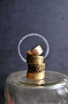 hammered old world bronze band rings by shopchristinanicole  these boho bands have been hand-scu...