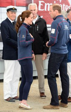 Deep in conversation: The Duke and Duchess chat amongst themselves as they meet skipper, t...