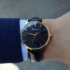 Classic Black/G on the wrist. Free shipping worldwide - www.bonvier.com #bonvier #watches #orologi