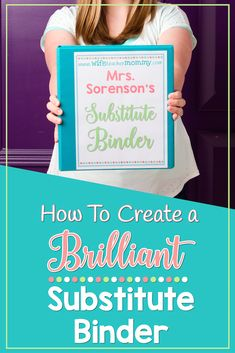How To Create a Brilliant Substitute Binder FREEBIE INCLUDED! Want to learn how to make a substitute binder? This post will help you learn how to create a brilliant substitute binder, with a freebie to help you get started. Teacher Organization, Teacher Tools, Teacher Hacks, Teacher Resources, Teacher Stuff, Math Teacher, Teacher Websites, Teacher Planner, Middle School Classroom