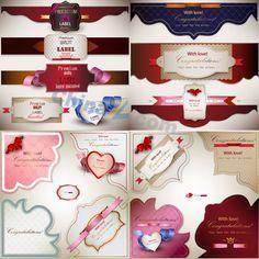 Beautiful heart-shaped tag vector material