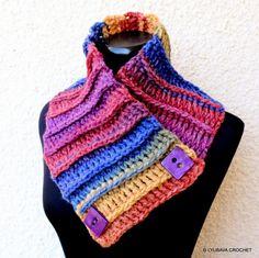 "Ravelry: Multicolor Chunky Scarf ""Two Buttons"" pattern by Lyubava Crochet Chunky Crochet Scarf, Chunky Scarves, Crochet Scarves, Crochet Headbands, Diy Crochet Gifts, Hand Crochet, Crochet Rug Patterns, Crochet Designs, Crochet Neck Warmer"