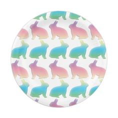 Pastel Easter Bunnies Paper Plate