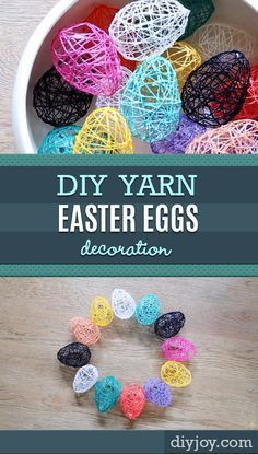 Diy easter crafts and decor ideas - how to make yarn eggs - step by step Easter Crafts For Adults, Arts And Crafts For Adults, Easy Arts And Crafts, Crafts For Girls, Easy Easter Crafts, Kids Crafts, Spring Crafts, Holiday Crafts, Party Crafts