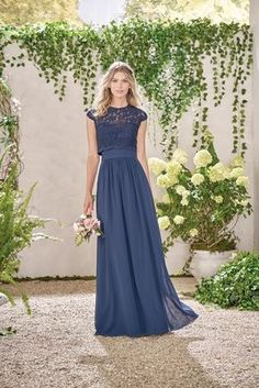 Dark blue bridesmaid dress with sleeves