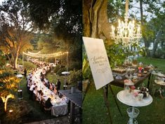 An elegant outdoor wedding estate - but this could work at a park, if you're able to secure that much space. One long dinner table! And I love the little dessert table. Wedding Tips, Wedding Blog, Dream Wedding, Reception Table, Wedding Reception, Dinner Table, Reception Ideas, Picnic Table, Wedding Favors