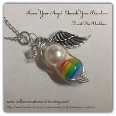 RAINBOW Baby Sweet Pea...Baby after Miscarriage / Infant Loss NECKLACE....Remember and Honor your Angel and Rainbow Babes on Etsy, $18.00