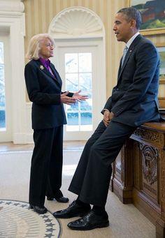 President Barack Obama with Edith Windsor RIP