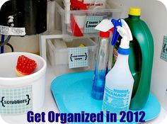 organizing ideas for cleaning supplies (under sink and closets)