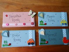 bespoke personalised handmade wooden / mdf plaques - shabby chic - door plaques New Crafts, Baby Crafts, Hobbies And Crafts, Wood Crafts, Wooden Gifts, Wooden Decor, Handmade Wooden, Door Plaques, Wooden Plaques