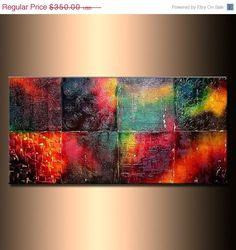 ORIGINAL Rich Texture Multicolored Abstract Painting, Contemporary Modern Art by Henry Parsinia Large 48x24. $315.00, via Etsy.
