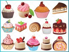 Bakery Sweets ClipArt  Digital Cupcakes Clip by DigitalFileShop