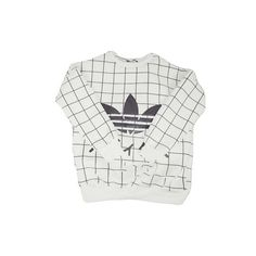 Adidas Logo Grid Sweater ($49) ❤ liked on Polyvore featuring tops, sweaters, shirts, jumpers, adidas sweater, adidas, logo shirts, adidas tops and logo tops