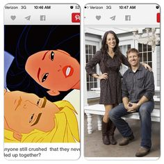 Fixer uppers Joanna and chip Gaines look like Pocahontas and John smith!! #hgtv #fixerupper