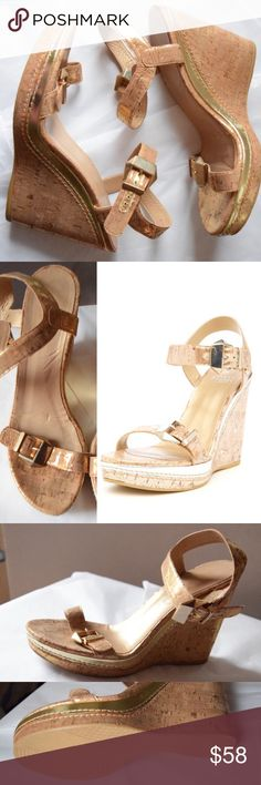 "Stuart Weitzman ""Twofer"" Wedge Heels Lacquered cork glosses over a modern wedge sandal finished with bold, geometric buckles. 5"" heel; 1"" platform. Good pre-owned condition, there are a few blemishes but they have not been over-worn, they do look better in person. Size 10.5 with an 11"" insole measurement.  Adjustable strap with buckle closure. Cork upper/leather lining/rubber sole. By Stuart Weitzman; imported. Salon Shoes. Stuart Weitzman Shoes Wedges"