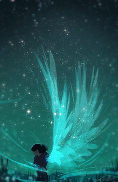 """ZandraArt """"Me salieron alas para poder ser libres de mis problemas"""" (Frase: Guadalupe Berardo) (El dibujo no es mio)"""
