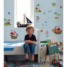 Fun4Walls Pirates Wall Stickers Set of 2 - Blue/Red