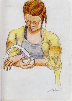 『金髪のお姉さん(通勤電車でスケッチ) It is a woman's sketch of the Japanese golden hair. It drew in a commuter train.』