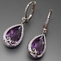 18K WHITE GOLD AMETHYST & 0.46 CTW DIAMONDS LEVER BACK DROPLET EARRINGS – Gold Stream Boutique