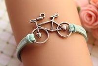 bike bracelet,retro silver love bike alloy bracelet,green wax rope chain bracelet