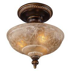 ELK Lighting 08100-AGB Restoration 3-Light Semi Flush 12W in. - Golden Bronze $110
