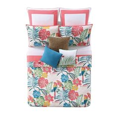 Shop Oceanfront Resort Coco Paradise Printed Cotton 3 Piece Quilt Set - On Sale - Overstock - 15675146 - Twin/Twin XL - 2 Piece King Quilt Sets, Queen Quilt, Twin Comforter Sets, Duvet Sets, Tropical Quilts, Beach Place, Space Furniture, Bath, Coral Color