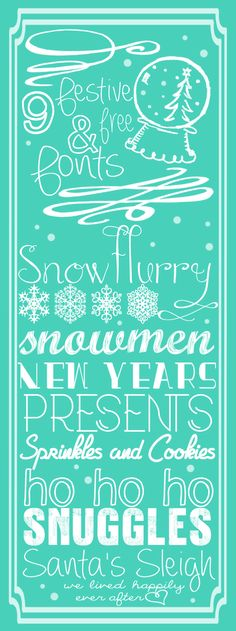 These are so CUTE! 9 Festive and Free Fonts for the Holidays!!!
