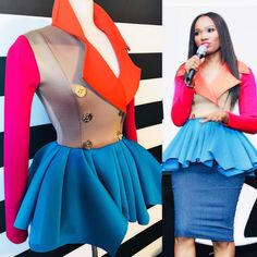 @jackieflemming1 wearing Color Trio Trench Peplum Jacket Sally Costume, Modele Hijab, Church Fashion, Western Dresses, Classy Dress, Pretty Dresses, African Fashion, Dress To Impress, Fashion Dresses