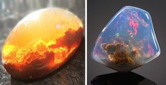 Opals - a fire opal with a sunset inside, a Lux opal with a galaxy.