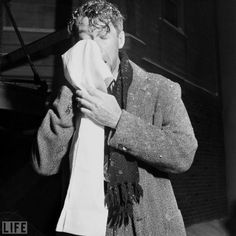 George Bailey's bleak Christmas Eve was actually shot during   90-degree days in 1946 on RKO's ranch in Encino, California. Between takes — as Stewart makes evident here, wiping away a mix of perspiration and artificial snow — that Capra gave the cast and crew a day off during filming to recuperate from heat exhaustion. In the famous scene on the bridge, George Bailey is clearly sweating — although Stewart  acting fear/anxiety might well be the cause.